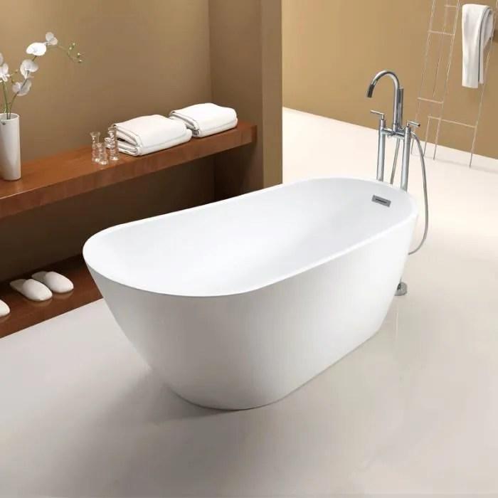 baignoire ilot sophia de 150 cm en acrylique blanc