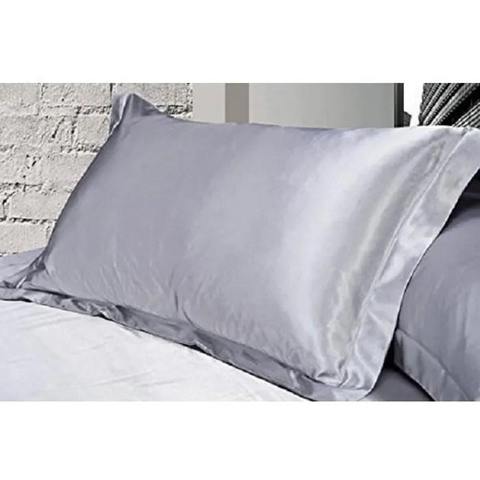 panlom lot de 2 taie d oreiller standard en soie satin super douce gris
