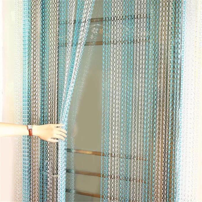 rideau de porte en chaine en aluminium bandes chainettes controle anti insectes decoration porte ecran bleu et argent