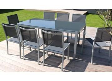Table De Jardin Alu Et Verre Trempe   Salon De Jardin Aluminium Et ...