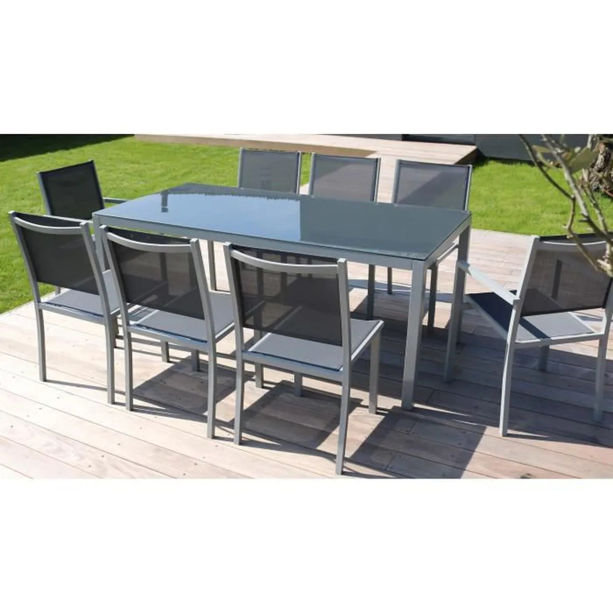 Salon De Jardin Aluminium 1 Table + 8 Fauteuils | Salon De ...