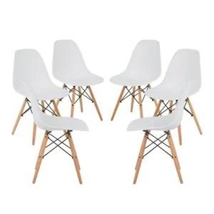 chaise lot de 6 chaises design scandinave blanc bois natu