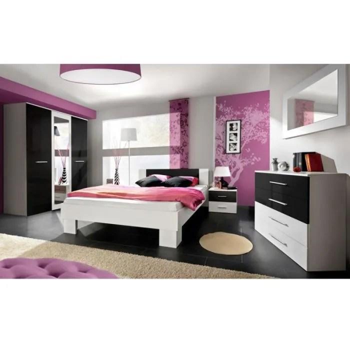 Paris Prix  Chambre Complte Adulte 6P Vicky 140x200cm Blanc  Noir  Achat  Vente chambre