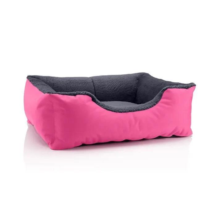 lit pour chien beddog teddy canape coussin panier corbeille lavable avec bordure m env 70x55cm pink rock rose gris