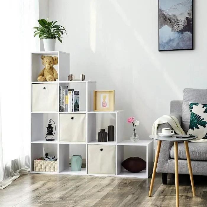songmics etagere escalier meuble de rangement 10 compartiments pour bibliotheque salon chambre blanc lbc10wt