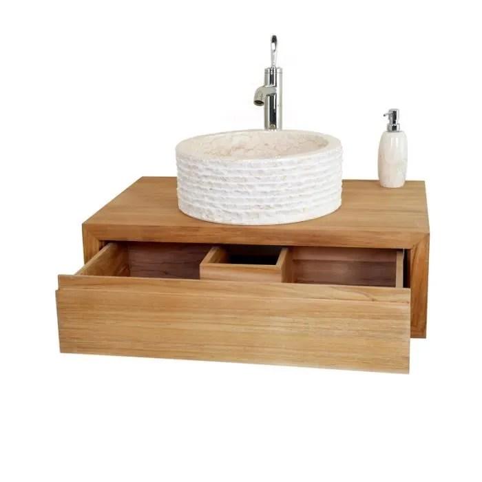 meuble salle de bain poser - boisholz - Meuble Salle De Bain Teck Suspendu
