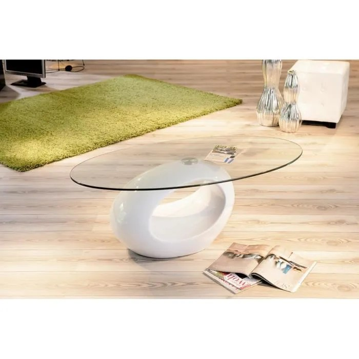 Table Basse Table Basse Ronde Verre Blanche
