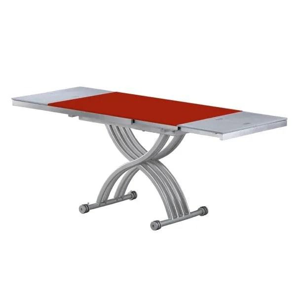TABLE BASSE RELEVABLE RITA ROUGE VERRE Amp ALU Achat