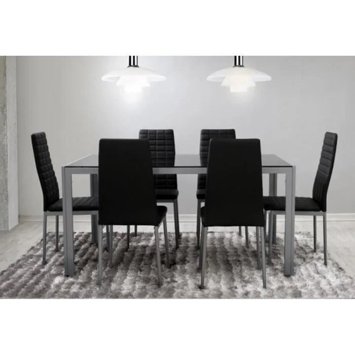ensemble salle a manger 6 chaises table noir gris