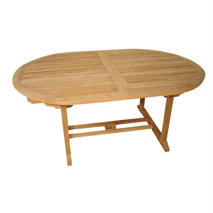 Table de jardin ovale extensible en teck massif  Achat  Vente table de jardin Table ovale