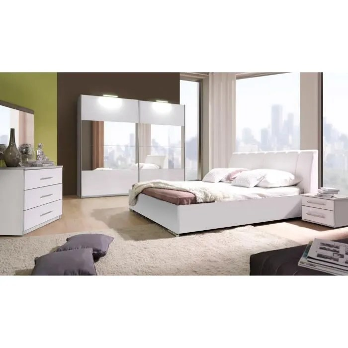 Chambre  coucher complte VERONA blanche laque  Achat