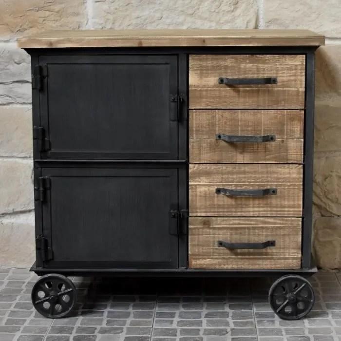 meuble industriel campagne en bois et fer bahut enfilade commode a roulettes placards tiroirs