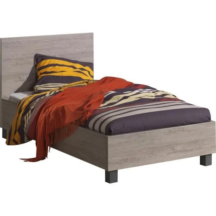 lit simple moderne 90x200 cm coloris chene gris