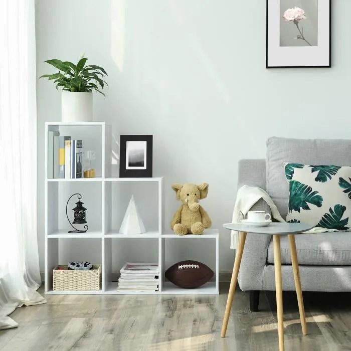 songmics etagere escalier meuble de rangement 6 compartiments pour bibliotheque salon chambre blanc lbc63wt