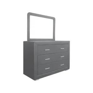 commode de chambre ensemble commode et miroir en pu coloris gris p 35