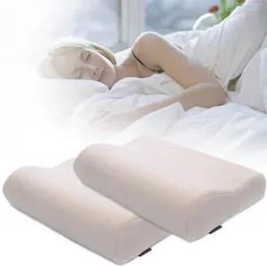 lot de 2 oreiller en mousse a memoire de forme oreiller ergonomique soins de sante cervicale soulager la douleur de cou 30x50x10cm