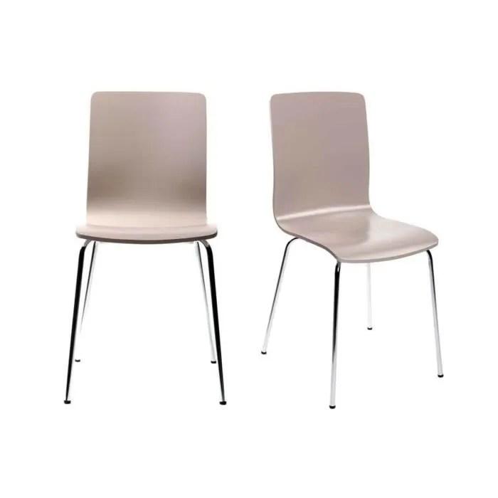 Lot de 2 chaises design cuisine taupes NELLY  Achat  Vente chaise Acier chrom multiplis