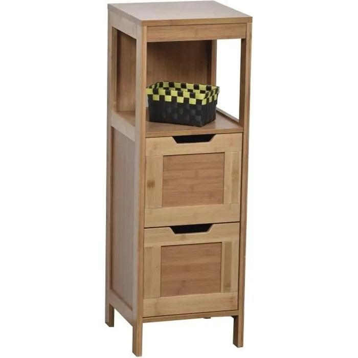 colonne meuble bas de salle de bain en bambou