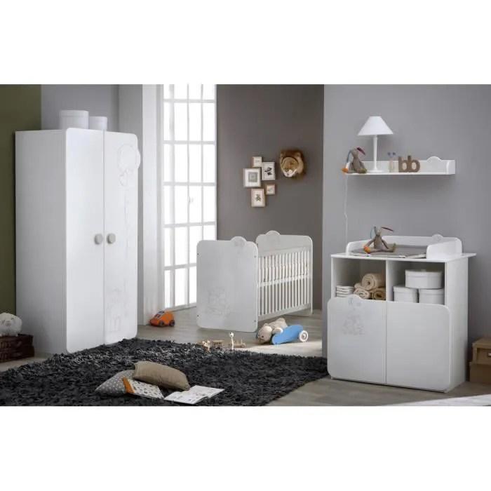 TEDDY Chambre Bb Complte Coloris Blanc Et Blanc Velours Blanc velours  Achat  Vente chambre