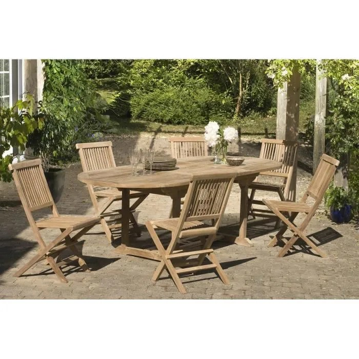 Salon De Jardin Ensemble En Teck Massif Table Extensible Ovale De