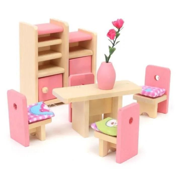 meubles en bois pour enfants meubles pour poupees tables pour chaises miniatures mini mobilier de jeu jouets educatifs