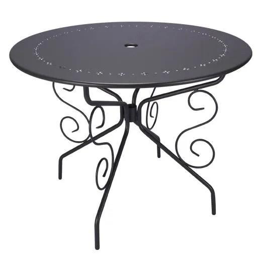 TABLE DE JARDIN RONDE D95CM ROMANTIQUE GRIS ANTHRACITE 4 PLACES  Achat  Vente table de jardin