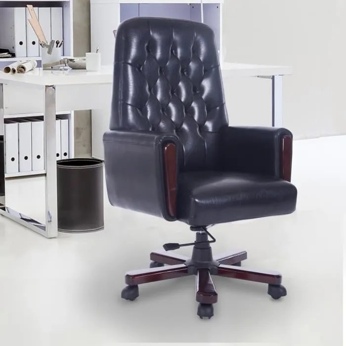 luxe chaise bureau fauteuil hauteur 72cm reglable pivotant epaisseur du coussin 9cm charge 120 kg meuble de bureau noir 21