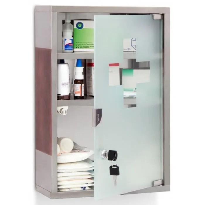 armoire a medicaments pharmacie metal et verre avec deux cles 45 x 30 cm 2013014