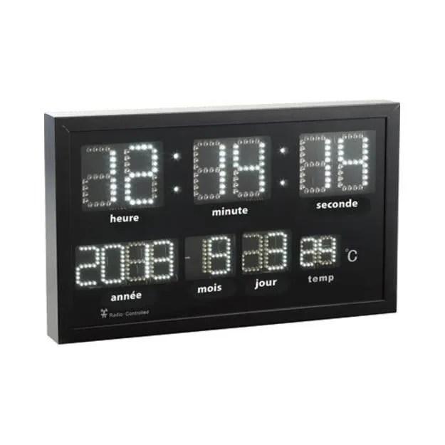 Horloge murale radiopilote  LED blanches  Achat  Vente horloge  pendule  Cdiscount