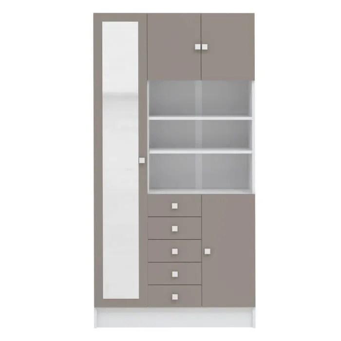 galet armoire de salle de bain l 90 cm blanc et taupe mat
