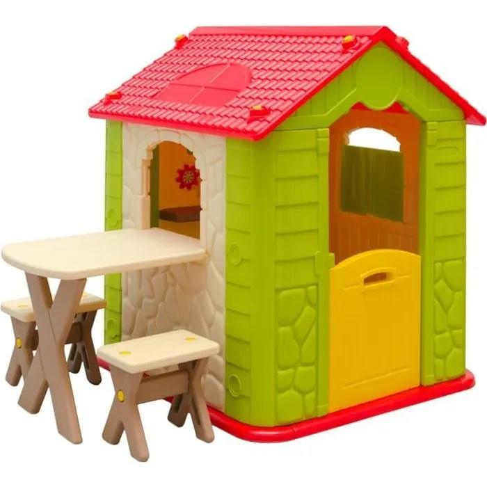 Maison de Jeu en Plastique  Maison de Jardin pour Enfants  Maisonnette  1 Table  2 Tabouret