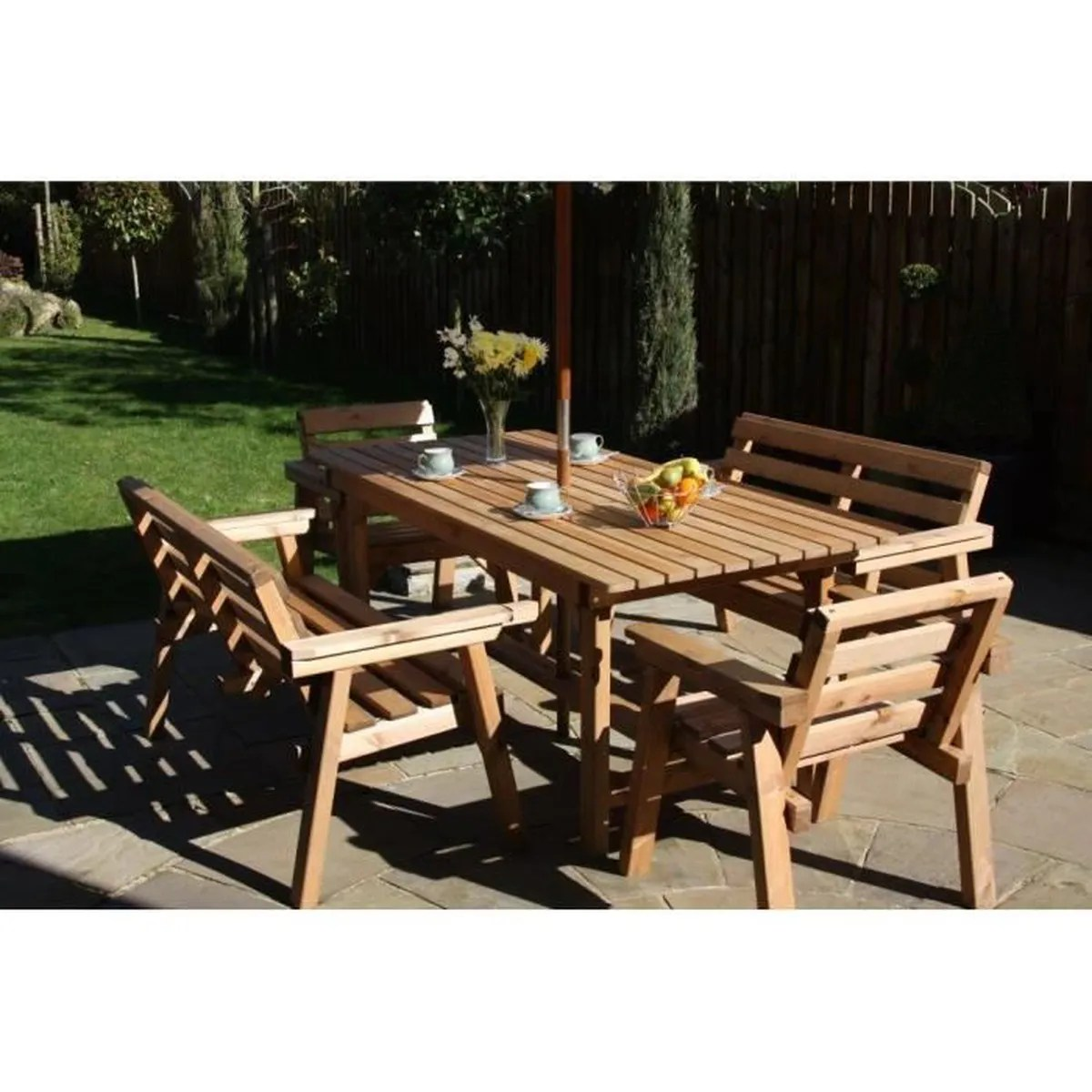 ensemble patio jardin meubles 6ft table 2 banc 2 chaises en bois massif