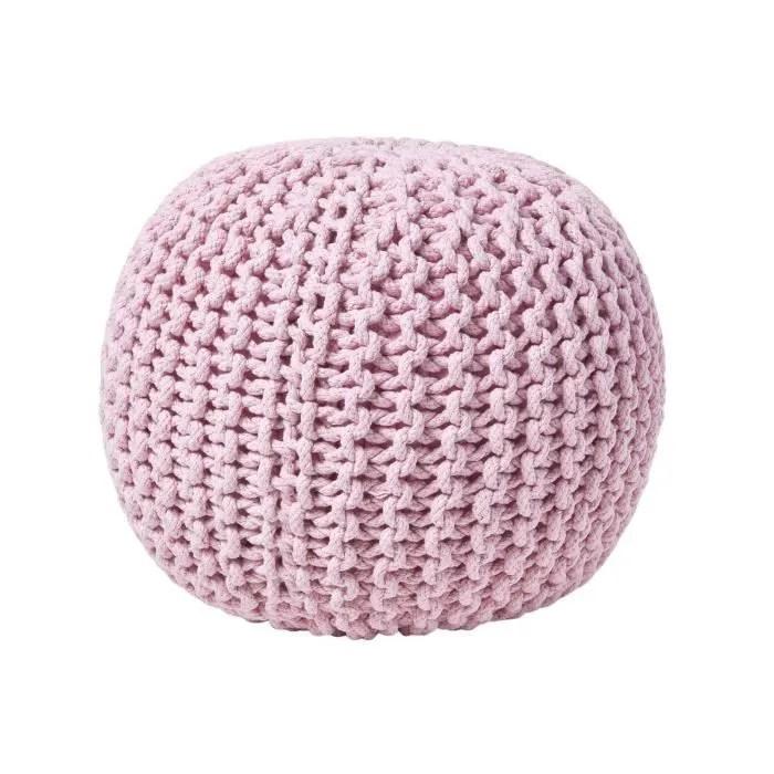 pouf en tricot rond coloris rose pastel 35 x 40 cm