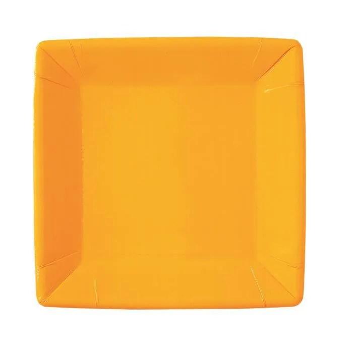 lot de 10 assiettes carree en carton orange