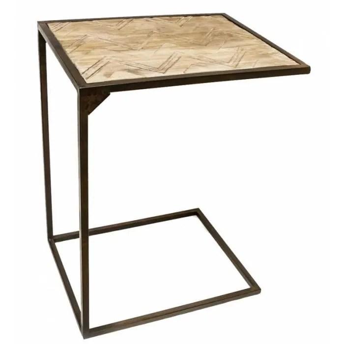 console haute gueridon bout de canape rectangle ou table d appoint desserte en bois et fer patine noir 35x45x60cm
