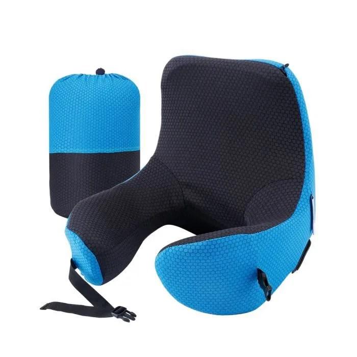langria oreiller de voyage avec capuche amovible reglable taille du cou bleu