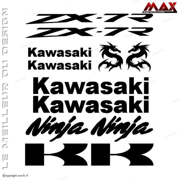 12 stickers KAWASAKI ZX7R – NOIR