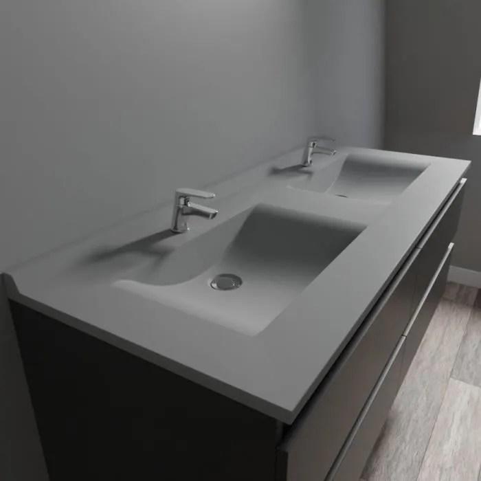 plan double vasque en resine resiplan gris beton 140 cm