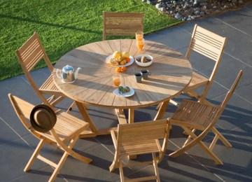 Salon De Jardin Teck Table Ronde | Table De Jardin Cairns Ronde 70cm ...