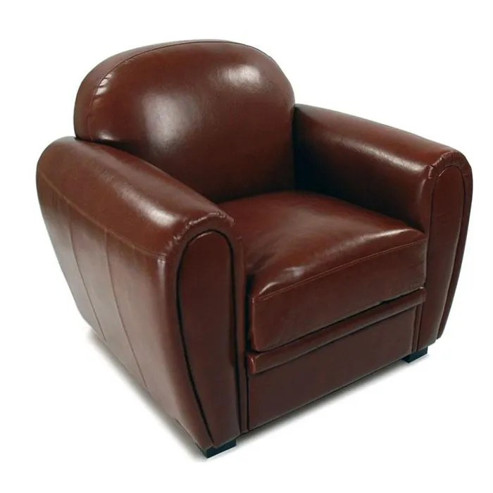 fauteuil club cuir marron clair croute de cuir