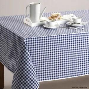 nappe de table nappe en toile ciree ronde cm petit vichy bleu