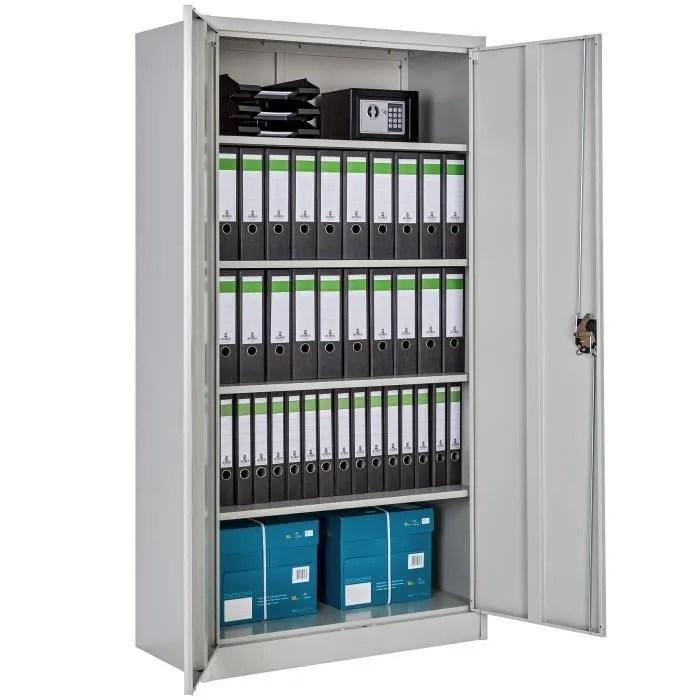 armoire de bureau meuble de classement de rangement a 4 etageres reglables a 2 cles en acier 90 cm x 40 cm x 180 cm gris tectake
