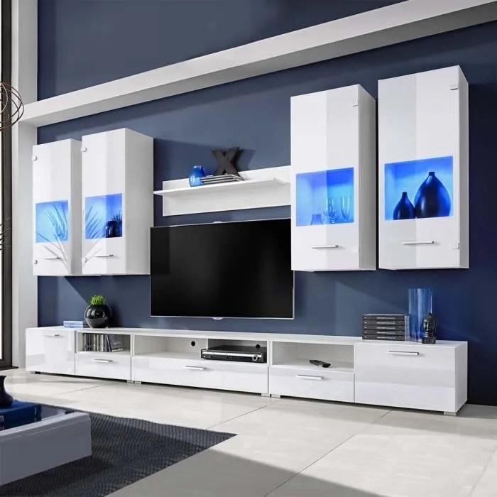 P8 Meuble TV A Vitrine Murale Blanc Avec Lumiere LED Bleu