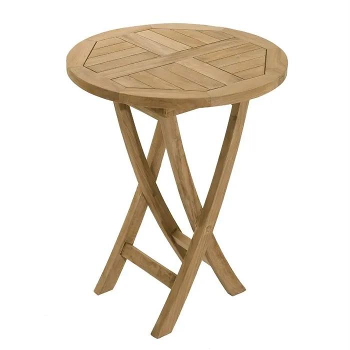 Table en teck massif ronde pliante de jardin  Achat  Vente table de jardin Table ronde pliante