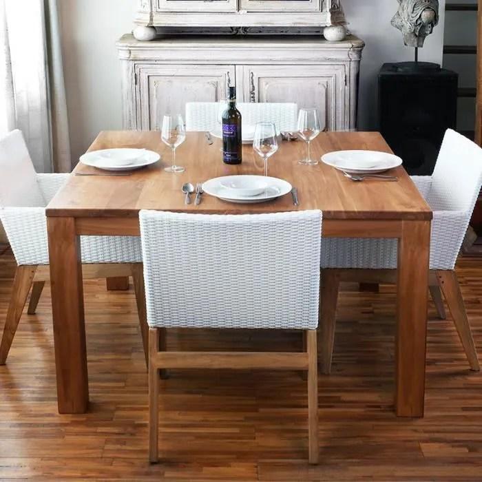 Table de salle  manger carre en teck 125x125 cm  Achat  Vente table a manger seule Table de