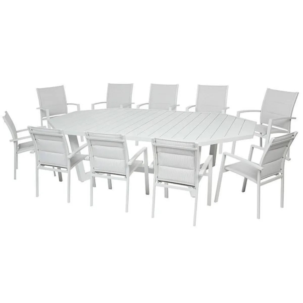 Salon De Jardin Teck Table Octogonale Table Octogonale En Aluminium Coloris Galet Dim L 274 X D 169