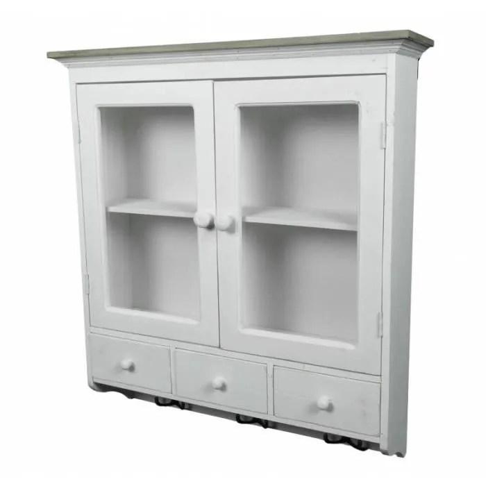 etagere de rangement ou a epices murale vitree facon armoire a pharmacie avec tiroirs bois blanchi et pateres fer 16 5x63 5x70cm