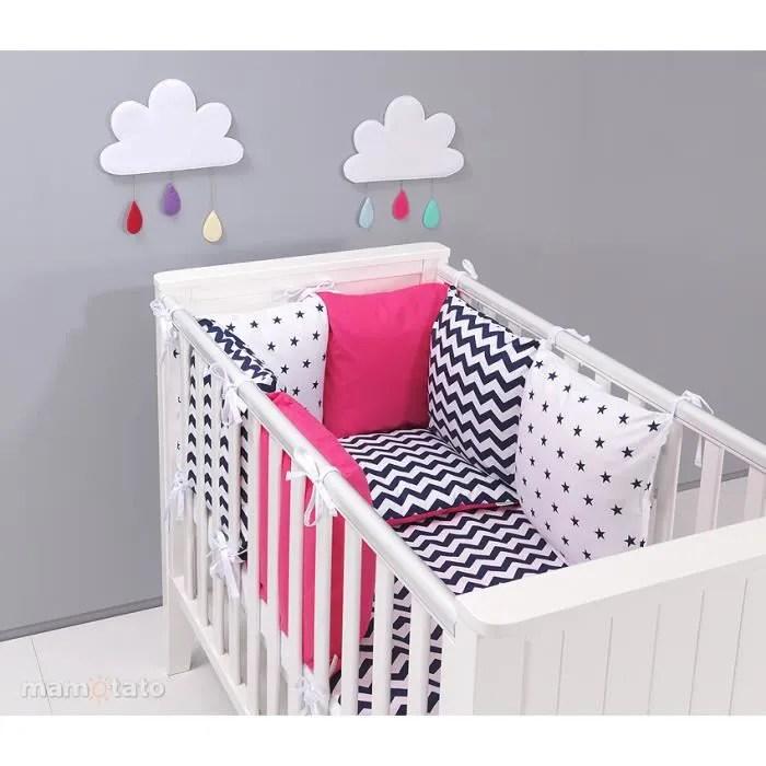 parure de lit bebe rose 60x120 avec tour de lit modulable