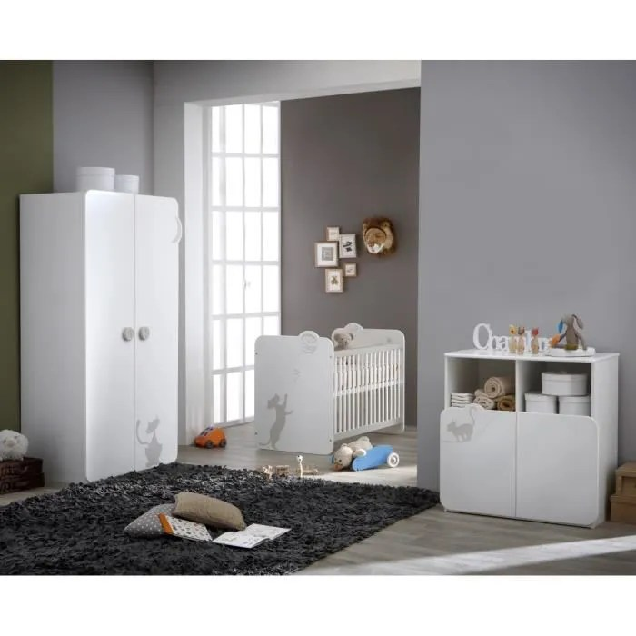 KITTY Chambre Bb Complte  Lit 60x120 cm  Armoire  Commode Blanc et Taupe  Achat  Vente