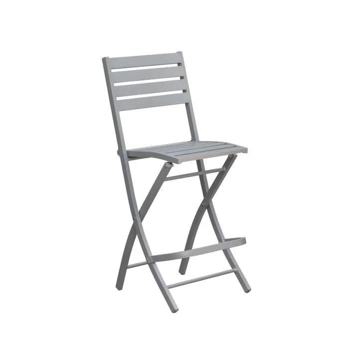 chaise haute pliante de jardin marius 46 x h 110 cm gris